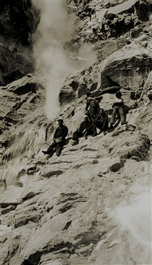 Crew members checking out fumarole in the Aleutians.Off of PIONEER