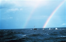 A double rainbow off the breakwater at the entrance to the Calcasieu River.