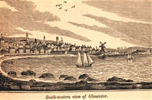 Gloucester as seen from the southwest.In: Historical Collections ... of Every Town in Massachusetts.  1841.