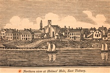 A northern view of Holmes' Hole, East Tisbury, on Martha's Vineyard.In: Historical Collections ... of Every Town in Massachusetts.  1841.