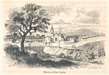 View of Mission San Carlos at Carmel.In: The Annals of San Francisco.  Frank Soule, John Gihon, and James Nesbit. 1855.  Page 69.  D. Appleton & Company, New York.  F869.S3.S7 1855.