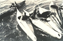Eskimos congregating in their kayaks.  The kayaks are used for hunting andtransportation.  F&WS; B-51432.