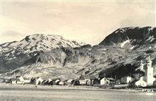 The villlage of Unalaska.  The picturesque Russian Orthodox Church on the right.F&WS; B-50336.
