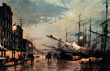 Painting of New York Harbor.