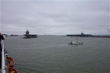 Docking USS ENTERPRISE with USS HARRY S. TRUMAN at dock.