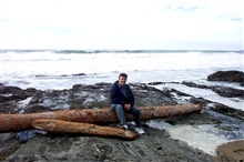 All this photographing was hard work.  Think I'll find a convenient log to siton.  Just north of Pigeon Point Lighthouse.