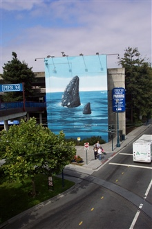 A humpback whale mural of mother and calf spy-hopping at Pier 39, nearFisherman's Wharf.