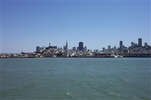 Part of San Francisco skyline as seen from tour boat on the way to Alcatraz.