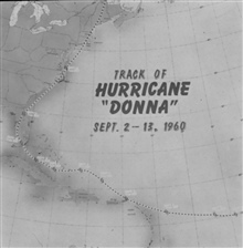 The track of Hurricane Donna as tracked by radar -  Photo #1 of sequence Not the first hurricane seen on radar, this was the best tracked at time