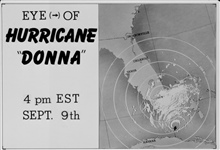 The track of Hurricane Donna as tracked by radar -  Photo #4 of sequence Not the first hurricane seen on radar, this was the best tracked at time