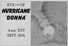 The track of Hurricane Donna as tracked by radar -  Photo #6 of sequence Not the first hurricane seen on radar, this was the best tracked at time