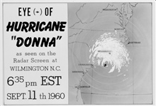 The track of Hurricane Donna as tracked by radar -  Photo #12 of sequence Not the first hurricane seen on radar, this was the best tracked at time