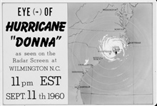 The track of Hurricane Donna as tracked by radar -  Photo #13 of sequence Not the first hurricane seen on radar, this was the best tracked at time