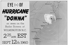 The track of Hurricane Donna as tracked by radar -  Photo #14 of sequence Not the first hurricane seen on radar, this was the best tracked at time