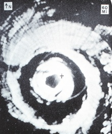 Aircraft APS-45 radar image of Hurricane Donna.  Aircraft located at + mark onphotograph near the NE eyewall of the hurricane.