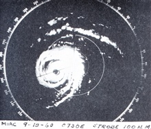 Radar image of Hurricane Donna on its closest approach to Miami illustrating allthe features of a classic hurricane.