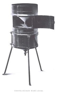Tipping-bucket rain gauge.In: The Aims and Methods of Meteorological Work by Cleveland Abbe.  In: Maryland Weather Service, Johns Hopkins Press, Baltimore, 1899.  Volume I.  Page 314.