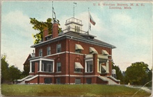 Postcard of the U.S. Weather Bureau Building at Lansing, Michigan.  On thegrounds of Michigan Agricultural College, today known as Michigan StateUniversity.