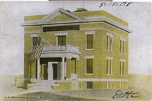 Postcard of the U.S. Weather Bureau Building at Sheridan, Wyoming.