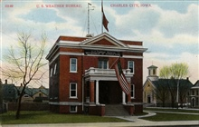 Postcard of the U.S. Weather Bureau Building at Charles City, Iowa.