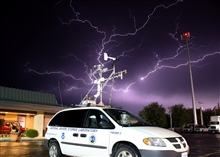 Lightning over National Severe Storms Laboratory mobile mesonet.