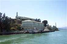 The pier at Alcatraz.  The lower building housed guards and workers while theprison is on the top of The Rock.