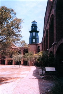 The lighthouse at Fort Jefferson, Dry Tortugas National Park, as seen from theinterior of the fort.