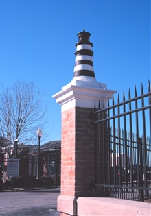 A decorative lighthouse graces the entrance to the United States Coast GuardBase at Charleston.
