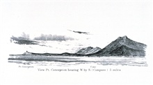 A view of Point Conception and the Point Conception Lighthouse from the SantaBarbara Channel.In:  Pacific Coast.  Coast Pilot of California, Oregon, and Washington Territory.  By George Davidson, 1869.  P. 22.  Library Call Number VK947.D4 1869.