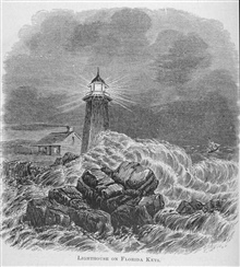 Lighthouse on Florida Keys - in Florida for Tourists, Invalids, and Settlersby George M. Barbour, 1881.  Library Call No. F316 .B23 1881.  Thisparticular lighthouse looks more like a misplaced New England Lighthouse thana lighthouse on the Florida Ke