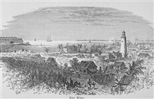 Key West -   in Florida for Tourists, Invalids, and Settlers by George M. Barbour, 1881.  Library Call No. F316 .B23 1881. A view of thelighthouse as well as the old town Key West.