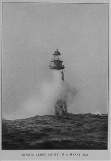 Minots Ledge Light in a heavy sea, off Boston Harbor.In: Lighthouses and Lightships of the United States byGeorge R. Putnam, 1917.  Houghton Mifflin and Company, Boston. Frontispiece. Library Call No. 527.7 P98.