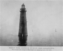 Present Stone Lighthouse on Minots Ledge, Massachusetts.  This structure ranksamong the difficult lighthouse engineering works of the world. In:Lighthouses and Lightships of the United States by George R. Putnam, p. 76, 1917.  Houghton Mifflin and Co