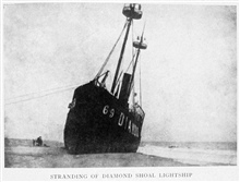 Stranding of Diamond Shoal Lightship. Near Cape Hatteras. In:Lighthouses and Lightships of the United States by George R. Putnam, p. 96, 1917.  Houghton Mifflin and Company, Boston. Library Call No. 527.7 P98.