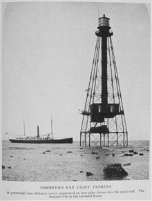 Sombrero Key Light, Florida.  A pyramidal iron skeletal tower, supported oniron piles driven into the coral reef.  The keepers live in the enclosed house.In: Lighthouses and Lightships of the United States by George R. Putnam, 1917.  Houghton Mifflin