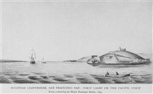 Alcatraz Lighthouse, San Francisco Bay: First Light on the PacificCoast.  From a drawing by Major Hartman Bache, 1859.  In:Lighthouses and Lightships of the United States by George R. Putnam, p. 110, 1917.  Houghton Mifflin and Company, Boston. Libra