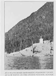 An Unattended Automatic Flashing Light, at Low Point, in the InsidePassage, Alaska. In: Lighthouses and Lightships of the United States by George R. Putnam, p. 148,  1917.  Houghton Mifflin and Company, Boston.Library Call No. 527.7 P98.