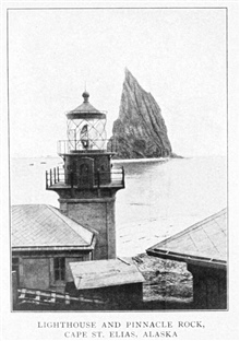 Lighthouse and Pinnacle Rock, Cape St. Elias, Alaska.  In:Lighthouses and Lightships of the United States by George R. Putnam, p. 148, 1917.  Houghton Mifflin and Company, Boston. Library Call No. 527.7 P98.