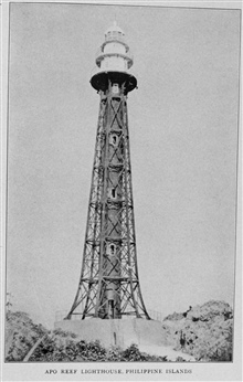 Apo Reef Lighthouse, Philippine Islands.  In:Lighthouses and Lightships of the United States by George R. Putnam, p. 174, 1917.  Houghton Mifflin and Company, Boston. Library Call No. 527.7 P98.