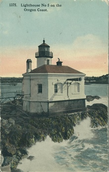Coquille River Lighthouse, known as Lighthouse No. 5 on the Oregon coast.