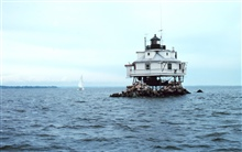 The Thomas Point Lighthouse just north of the mouth of the South River belowAnnapolis