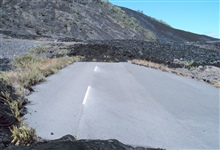 The end of the road caused by a lava flow across the pavement
