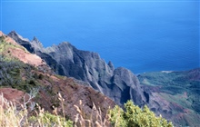 A knife-edge ridge on Kauai on the Na Pali coast.