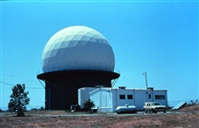 NSSL's second Doppler Weather Radar, 15 miles west of Oklahoma City.Researchers used this radar and the Norman Doppler radar to study thunderstorms.Doppler radar gave better estimates of winds within storms than earlier radars.