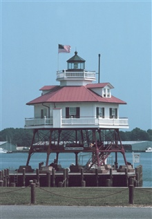 Drum Point Lighthouse, now a museum, stood watch at the mouth of the PatuxentRiver.