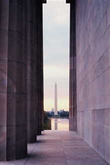 The Washington Monument reflected in the Reflecting Pool as seen from theLincoln Memorial