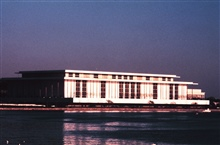 A late afternoon shot of the Kennedy Center as seen from the Potomac