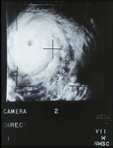 Early polar-orbiting satellite image of a tropical cyclone.