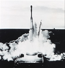 TIROS I launch.  Launch vehicle was a Thor Able rocket.  TIROS I was a testsatellite launched by NASA.