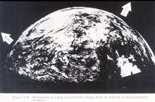 View of tropical cyclone centered near Del Rio, Texas.  This picture showed thepromise of satellite monitoring of weather.  The picture was made from moviecameras mounted in a Navy Aerobee rocket fired from White Sands Proving Ground.Operational Use
